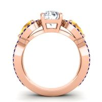 Three Stone Pave Varsa Diamond Ring with Citrine and Blue Sapphire in 14K Rose Gold