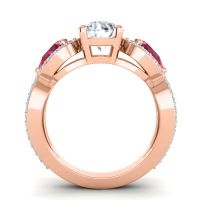 Three Stone Pave Varsa Diamond Ring with Ruby and Aquamarine in 14K Rose Gold
