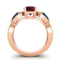 Three Stone Pave Varsa Garnet Ring with Blue Sapphire and Peridot in 14K Rose Gold