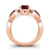 Three Stone Pave Varsa Garnet Ring with Aquamarine in 14K Rose Gold