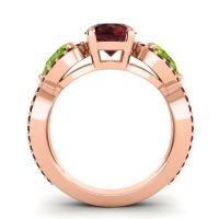 Three Stone Pave Varsa Garnet Ring with Peridot in 14K Rose Gold