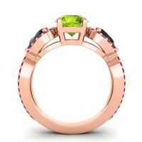 Three Stone Pave Varsa Peridot Ring with Black Onyx and Ruby in 14K Rose Gold