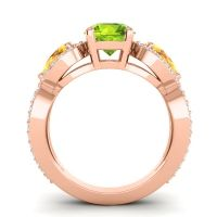 Three Stone Pave Varsa Peridot Ring with Citrine and Diamond in 18K Rose Gold