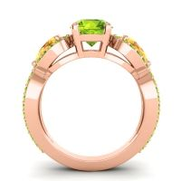 Three Stone Pave Varsa Peridot Ring with Citrine in 18K Rose Gold