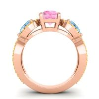 Three Stone Pave Varsa Pink Tourmaline Ring with Aquamarine and Citrine in 18K Rose Gold