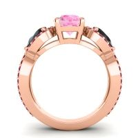 Three Stone Pave Varsa Pink Tourmaline Ring with Black Onyx and Ruby in 18K Rose Gold