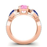 Three Stone Pave Varsa Pink Tourmaline Ring with Blue Sapphire and Swiss Blue Topaz in 14K Rose Gold