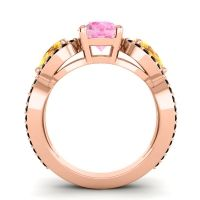 Pink Tourmaline Three Stone Pave Varsa Ring with Citrine and Black Onyx in 14K Rose Gold