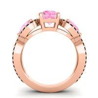 Pink Tourmaline Three Stone Pave Varsa Ring with Black Onyx in 18K Rose Gold