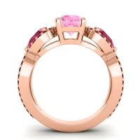 Pink Tourmaline Three Stone Pave Varsa Ring with Ruby and Garnet in 14K Rose Gold