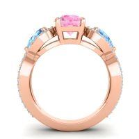 Three Stone Pave Varsa Pink Tourmaline Ring with Swiss Blue Topaz and Aquamarine in 18K Rose Gold