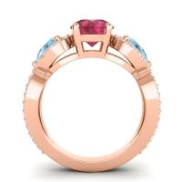 Three Stone Pave Varsa Ruby Ring with Aquamarine and Diamond in 14K Rose Gold