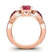 Three Stone Pave Varsa Ruby Ring with Garnet in 14K Rose Gold