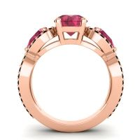 Three Stone Pave Varsa Ruby Ring with Black Onyx in 18K Rose Gold