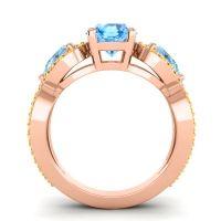 Three Stone Pave Varsa Swiss Blue Topaz Ring with Aquamarine and Citrine in 14K Rose Gold