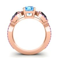 Three Stone Pave Varsa Swiss Blue Topaz Ring with Black Onyx and Amethyst in 18K Rose Gold