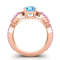 Three Stone Pave Varsa Swiss Blue Topaz Ring with Pink Tourmaline and Amethyst in 18K Rose Gold