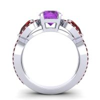 Three Stone Pave Varsa Amethyst Ring with Garnet in 18k White Gold