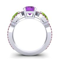 Three Stone Pave Varsa Amethyst Ring with Peridot and Ruby in 18k White Gold