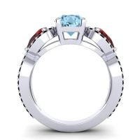 Three Stone Pave Varsa Aquamarine Ring with Garnet and Black Onyx in Platinum