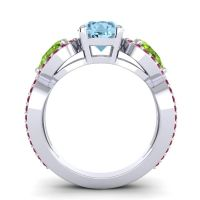 Three Stone Pave Varsa Aquamarine Ring with Peridot and Ruby in 14k White Gold