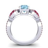 Aquamarine Three Stone Pave Varsa Ring with Ruby and Garnet in 18k White Gold