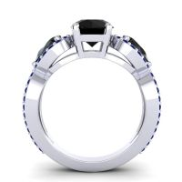 Three Stone Pave Varsa Black Onyx Ring with Blue Sapphire in Platinum