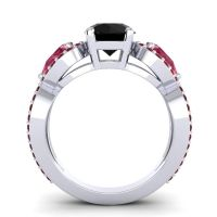 Black Onyx Three Stone Pave Varsa Ring with Ruby and Garnet in 18k White Gold