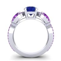 Three Stone Pave Varsa Blue Sapphire Ring with Amethyst in Platinum