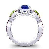 Three Stone Pave Varsa Blue Sapphire Ring with Peridot and Garnet in 14k White Gold