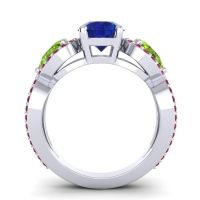Three Stone Pave Varsa Blue Sapphire Ring with Peridot and Ruby in Platinum