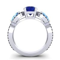 Three Stone Pave Varsa Blue Sapphire Ring with Swiss Blue Topaz and Black Onyx in 18k White Gold