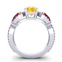 Three Stone Pave Varsa Citrine Ring with Garnet and Ruby in Platinum
