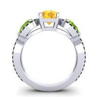Three Stone Pave Varsa Citrine Ring with Peridot and Black Onyx in 18k White Gold