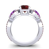Three Stone Pave Varsa Garnet Ring with Amethyst in 18k White Gold