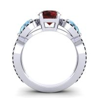 Three Stone Pave Varsa Garnet Ring with Aquamarine and Black Onyx in 14k White Gold