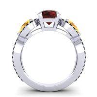 Garnet Three Stone Pave Varsa Ring with Citrine and Black Onyx in Platinum