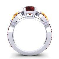 Three Stone Pave Varsa Garnet Ring with Citrine in 18k White Gold