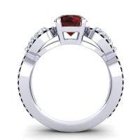 Garnet Three Stone Pave Varsa Ring with Diamond and Black Onyx in Palladium