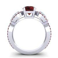 Garnet Three Stone Pave Varsa Ring with Diamond in 18k White Gold