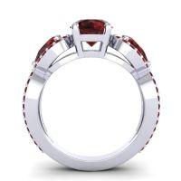 Three Stone Pave Varsa Garnet Ring in 18k White Gold