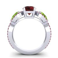 Garnet Three Stone Pave Varsa Ring with Peridot and Ruby in 18k White Gold