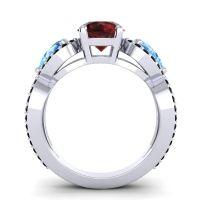 Garnet Three Stone Pave Varsa Ring with Swiss Blue Topaz and Black Onyx in Platinum