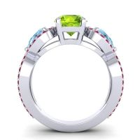 Three Stone Pave Varsa Peridot Ring with Aquamarine and Ruby in Platinum