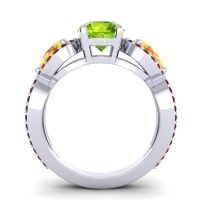 Three Stone Pave Varsa Peridot Ring with Citrine and Garnet in 14k White Gold