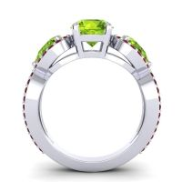 Peridot Three Stone Pave Varsa Ring with Garnet in 18k White Gold