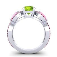 Three Stone Pave Varsa Peridot Ring with Pink Tourmaline and Ruby in 14k White Gold
