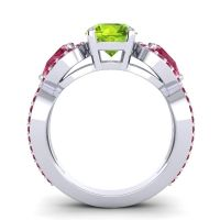 Three Stone Pave Varsa Peridot Ring with Ruby in 18k White Gold