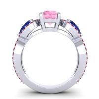 Three Stone Pave Varsa Pink Tourmaline Ring with Blue Sapphire and Ruby in Platinum