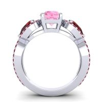 Three Stone Pave Varsa Pink Tourmaline Ring with Garnet and Ruby in Platinum